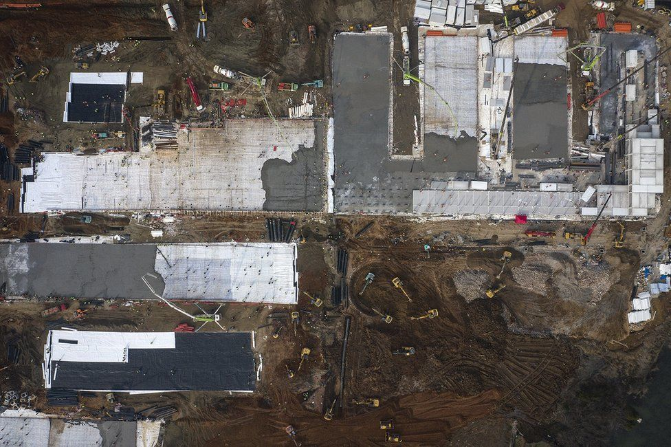 An aerial view of the construction of Huoshenshan hospital