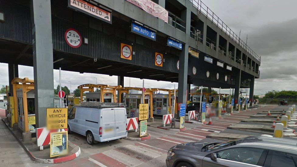 Toll booths at Mersey tunnel