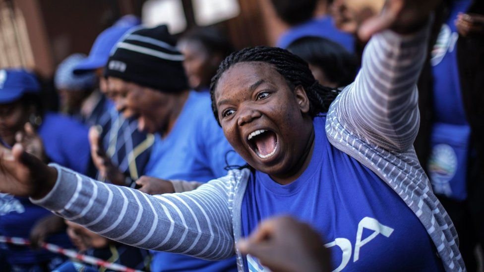 Democratic Alliance supporters protesting in Pretoria in June