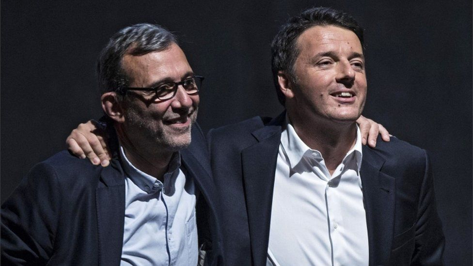 Centre-left Democratic Party (PD) Rome mayoral candidate Roberto Giachetti (L) and Italian Prime Minister Matteo Renzi (R) during an election rally in Rome