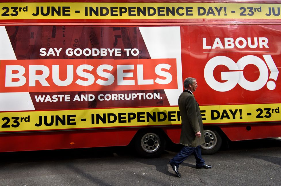 Leave campaign bus, 31 March 2016, with then UKIP leader Nigel Farage