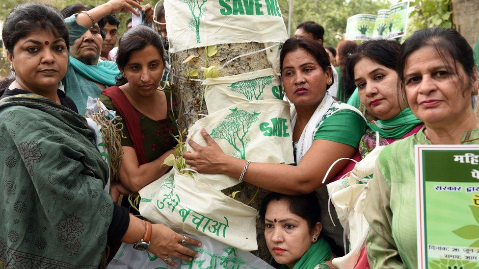 Delhi residents hug a tree