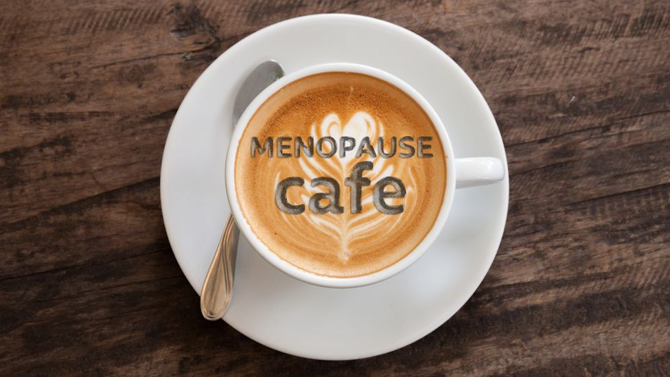 Graphic of a cup of coffee with the words: Menopause cafe