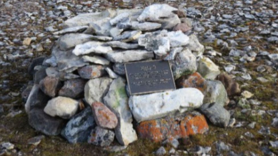A commemorative cairn at Erebus Bay constructed in 2014