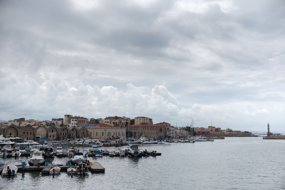 View from the port of Chania, where Ahmed Tarzalakis and his family currently live.