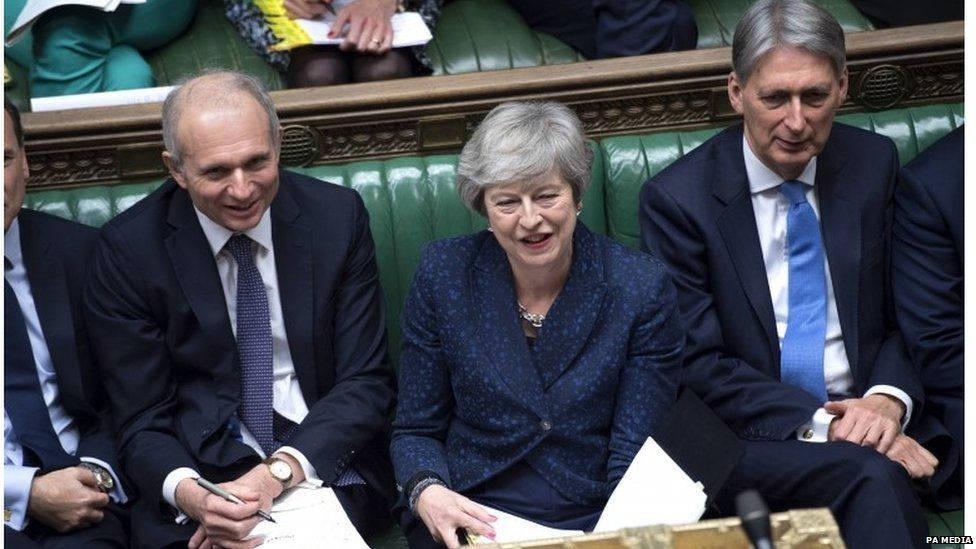Philip Hammond sitting next to Theresa May in Parliament