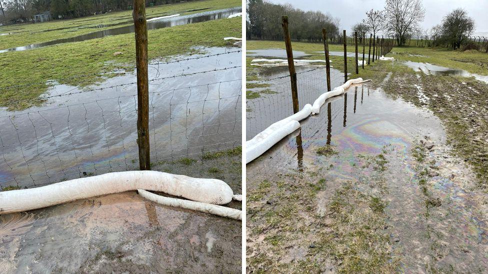 Diesel spill on farmland