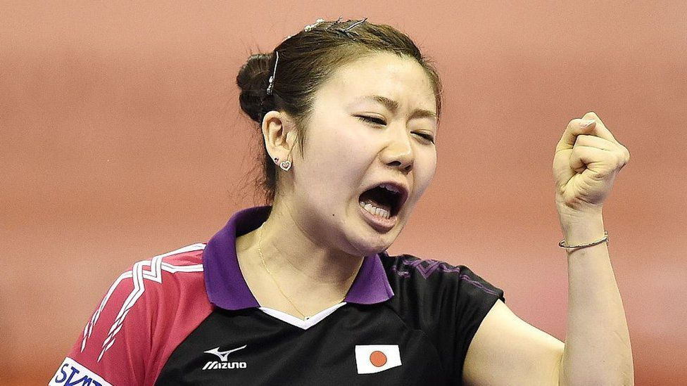 Ai Fukuhara of Japan reacts after winning a set against Kristin Silbereisen of Germany