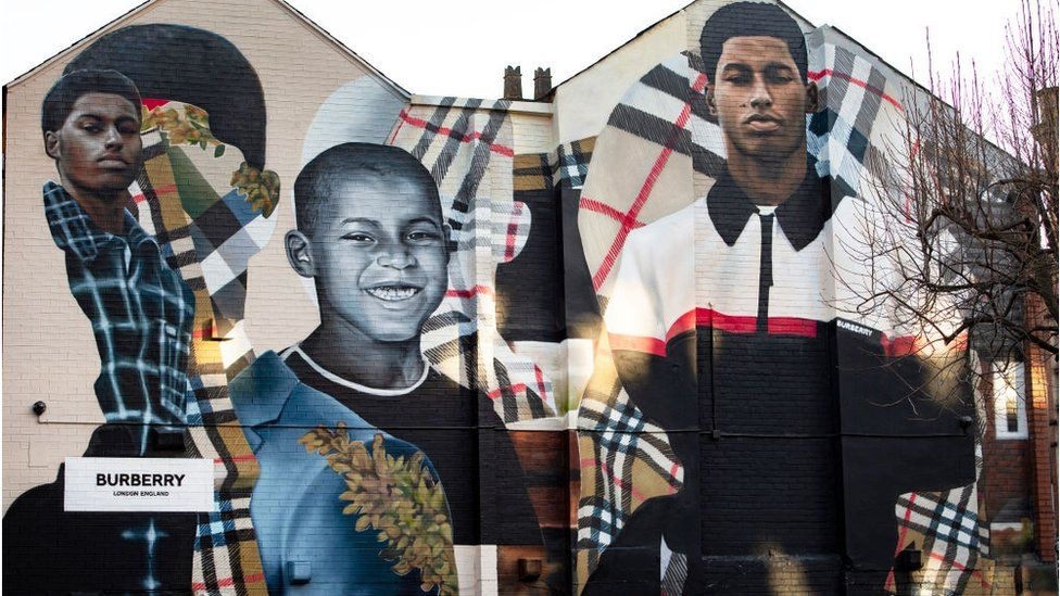 A mural of Marcus Rashford promoting Burberry in the Northern Quarter, Manchester