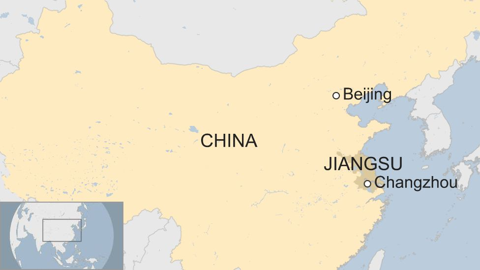 Map showing Changzhou and Jiangsu in China