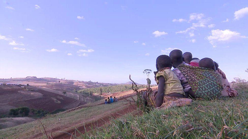 Children on a hill in Sebei, Uganda