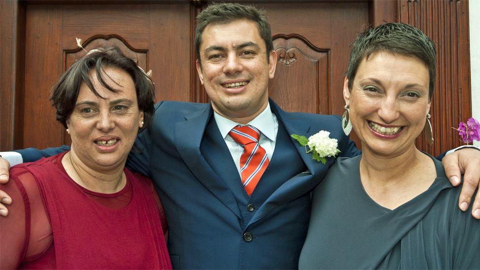 Bernadette, Nathan and Shereen at Nathan's wedding