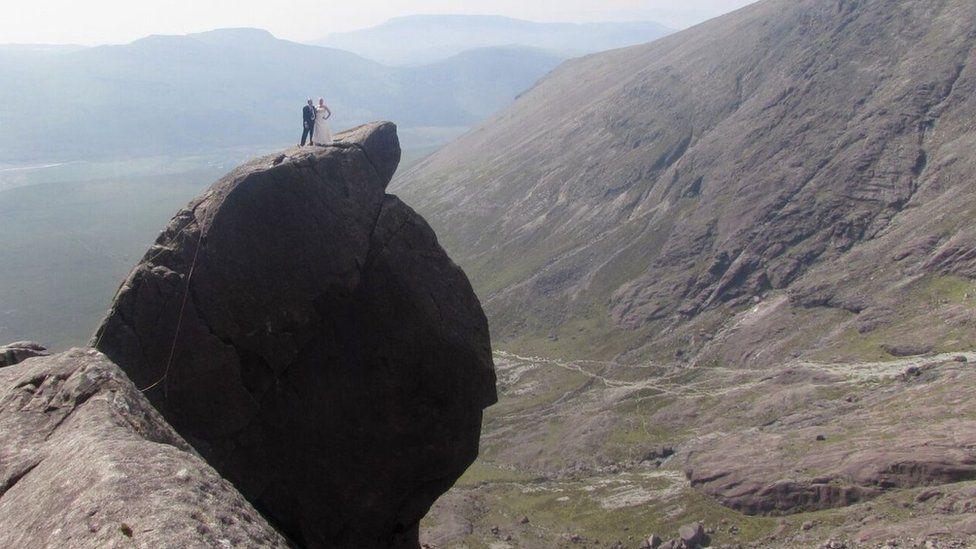 Mel and Steve Hill on Cioch, Skye