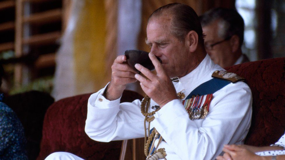 Prince Harry's grandfather, the Duke of Edinburgh, trying Kava during a visit to Fiji in 1982