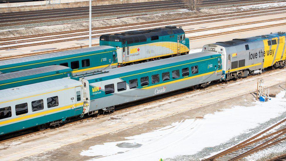 Passenger rail trains sitting idle at Union Station in Toronto