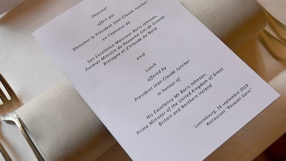 The menu for Mr Johnson and Mr Juncker's lunch