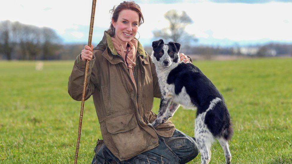 Emma Gray and Megan the sheepdog