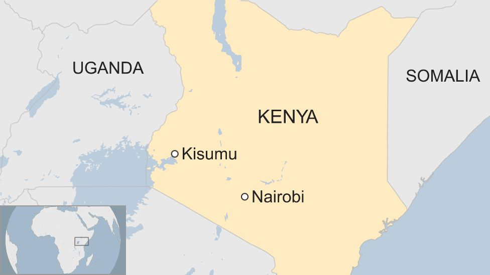 Map shows Nairobi and Kisumu in Kenya