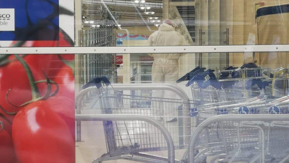 Police inside Tesco store in Sheffield