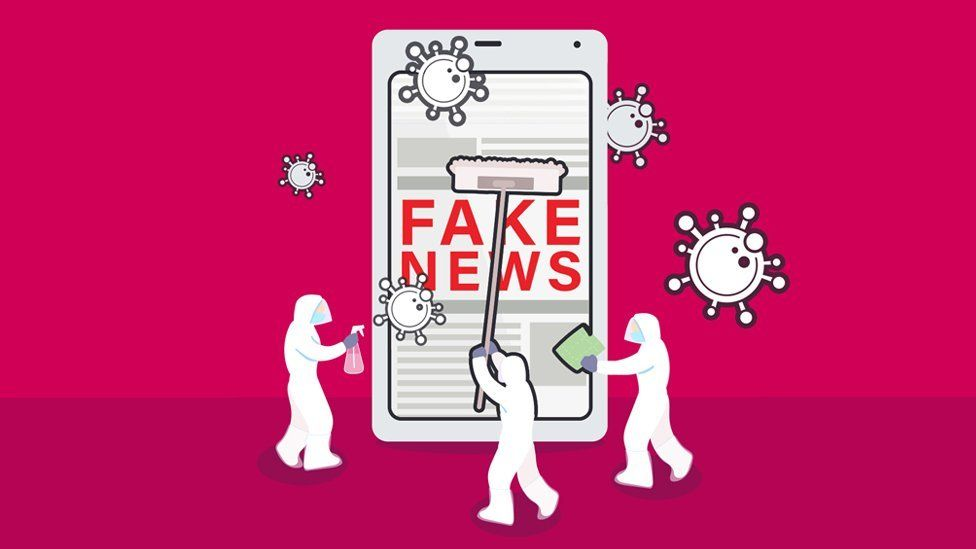 """Graphic shows a mobile phone with """"fake news"""" on it being cleaned by tiny cleaners."""