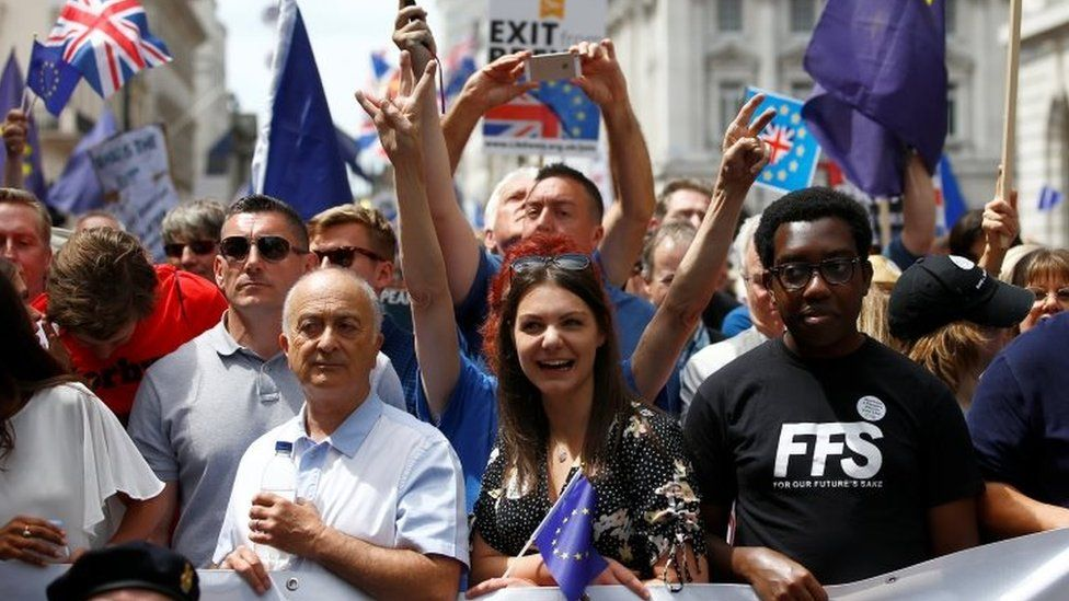 Pro-EU supporters marching in London