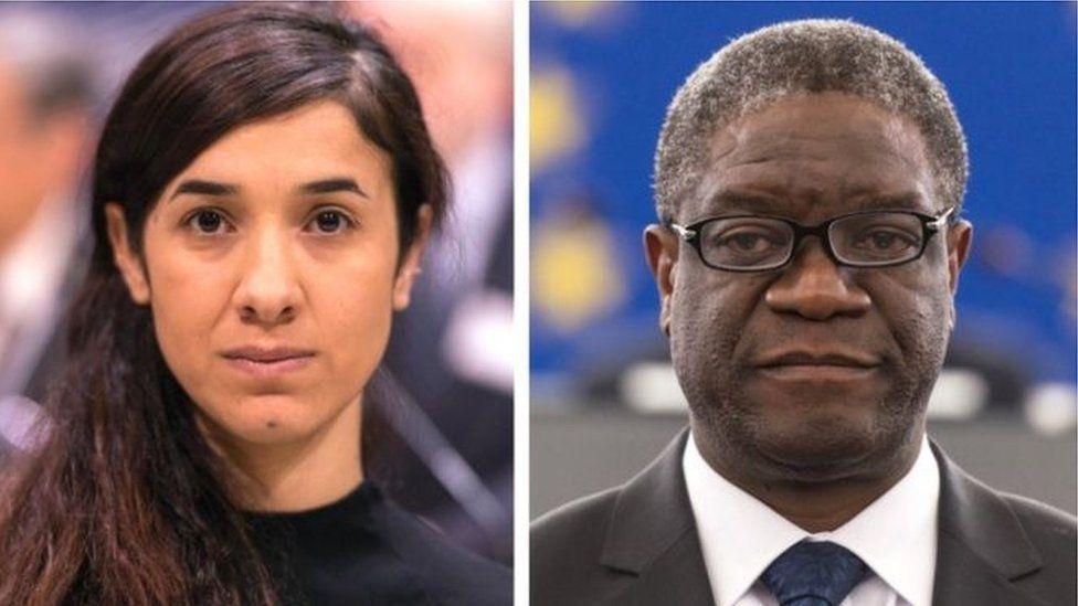 Nobel Peace Prize winners Nadia Murad and Denis Mukwege