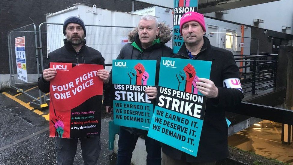 Striking staff at Strathclyde University