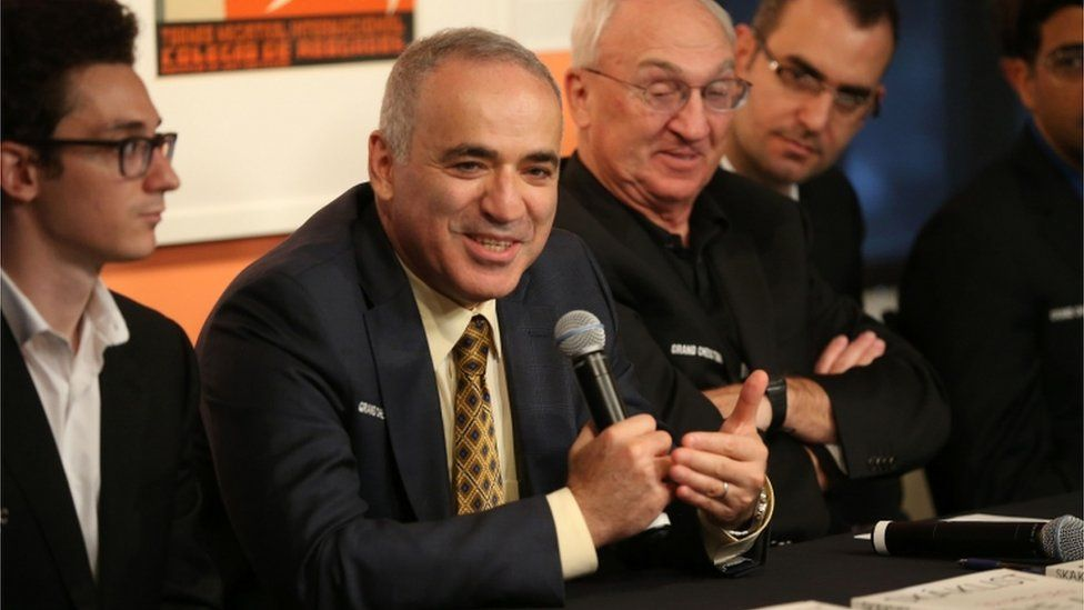 Grandmaster chess player Garry Kasparov of Croatia makes remarks during introductons at the Chess Club and Scholastic Center in St. Louis