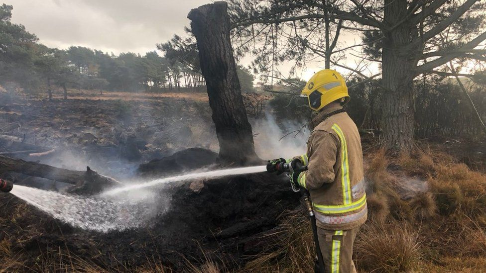 Firefighters at heath fire