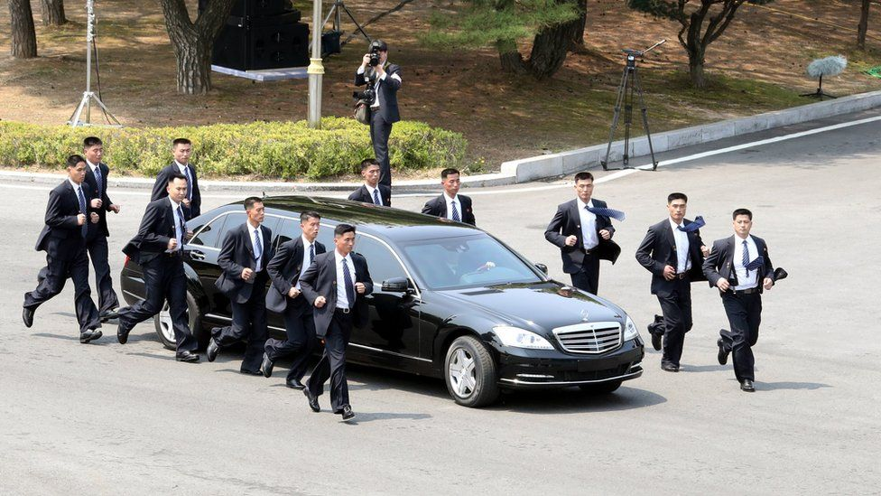 """North Korean Leader Kim Jong Un heads to the north side for luncheon in the car escorted by North""""s bodyguards from the Peace House during the Inter-Korean Summit on April 27, 2018 in Panmunjom, South Korea"""