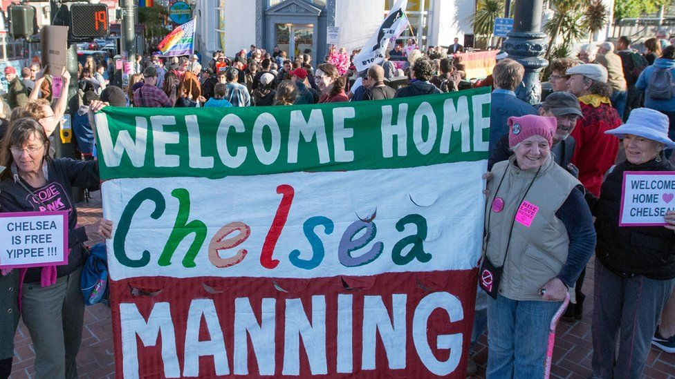 Demonstrators hold 'Welcome Home Chelsea Manning' banner at event in San Francisco to coincide with her release