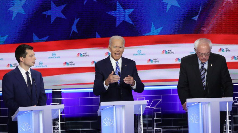 Pete Buttigieg, Joe Biden and Bernie Sanders at the first Democratic debate