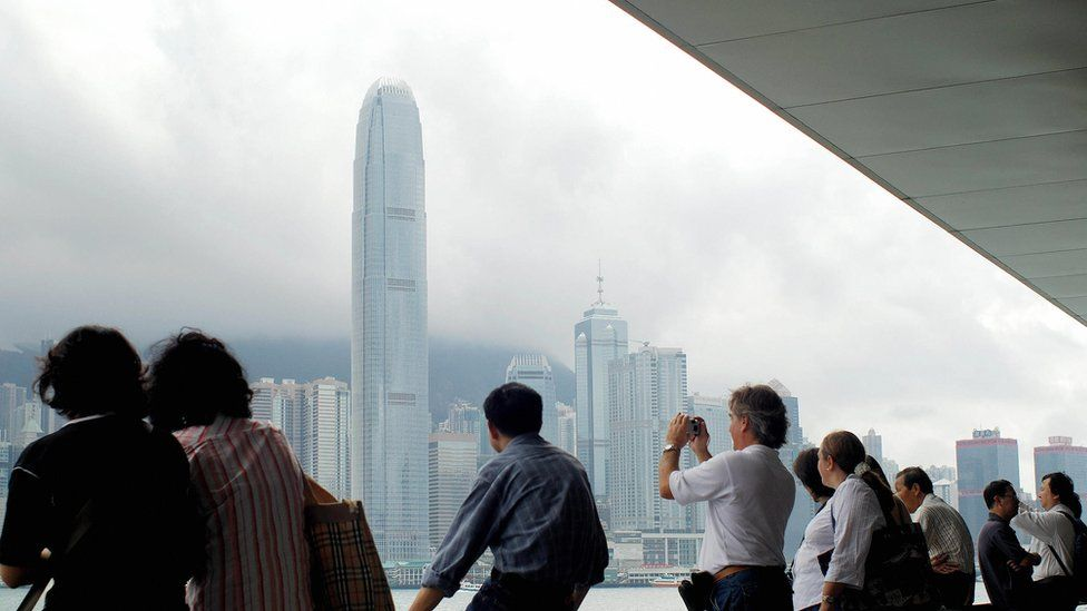 Chinese and foreign tourists in Hong Kong