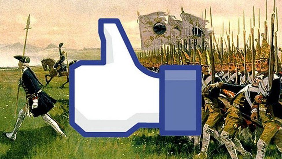 Facebook like symbol over painted picture of Hessian soldiers