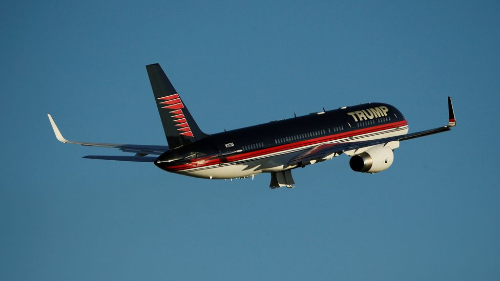 Republican U.S. presidential nominee Donald Trump departs in his plane after rallying with supporters in a cargo hangar at Minneapolis Saint Paul International Airport in Minneapolis, Minnesota, U.S. November 6, 2016