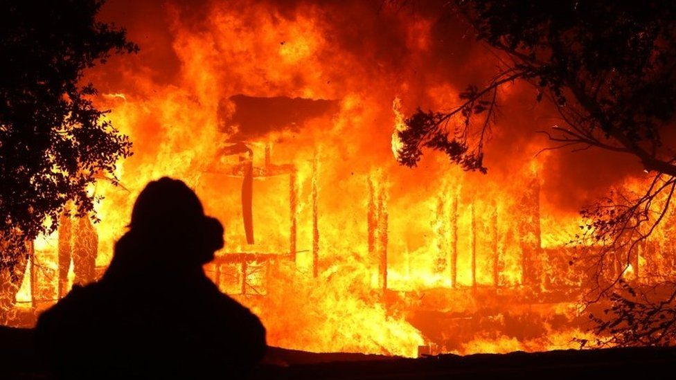 A home burns in Geyserville, California