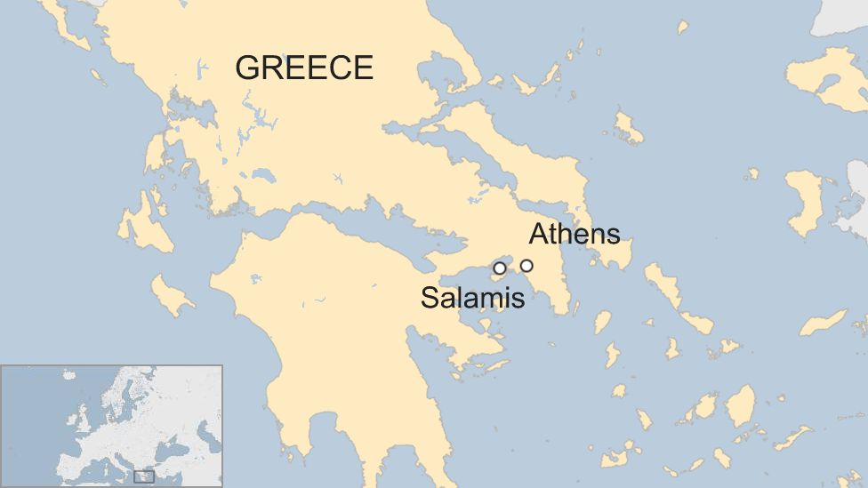 A map showing the island of Salamis and the location of Athens