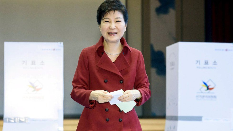 Park Geun-hye voting in elections on 13 April 2016
