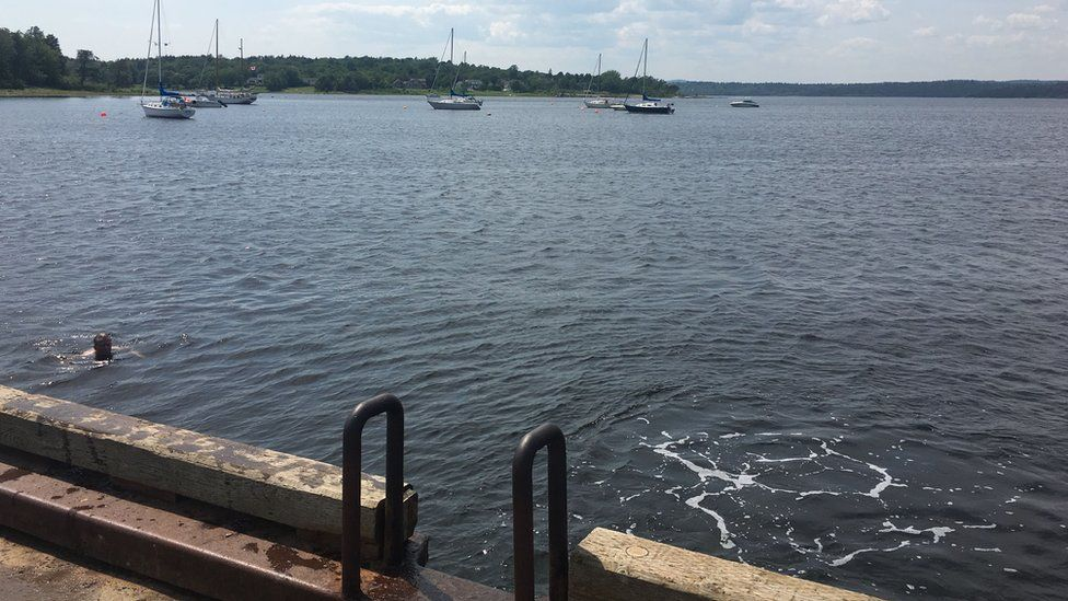 The view from the dock where Dennis Oland stopped the night Richard Oland was killed.