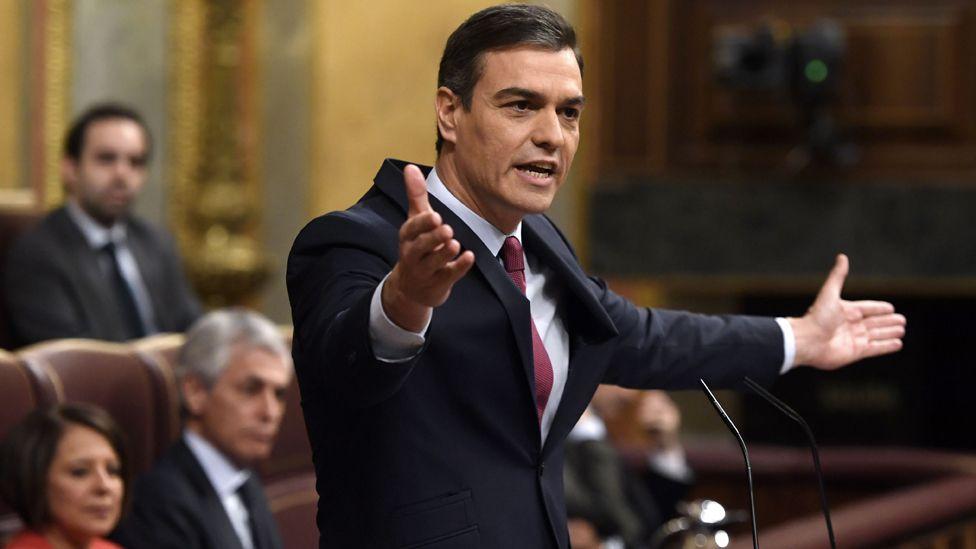 Pedro Sánchez addressing MPs, 7 Jan 20