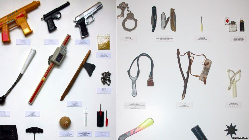 Weapons including an axe, gun and catapult