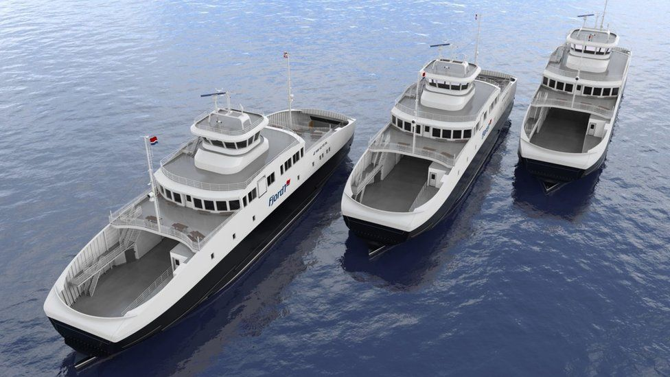 Graphic of three new electric ferries