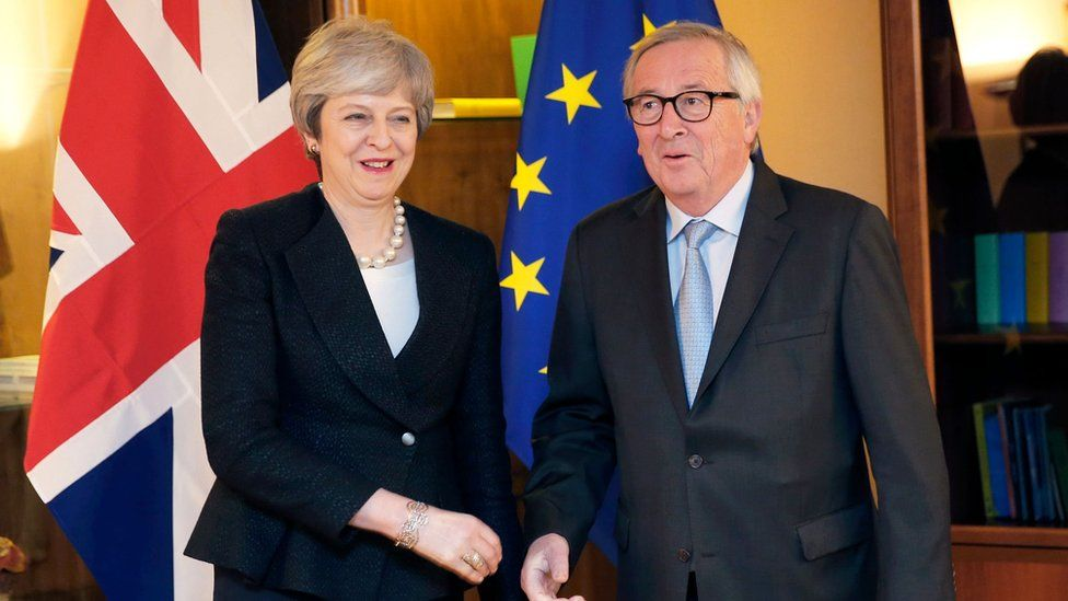Theresa May and Jean-Claude Juncker are meeting in Strasbourg