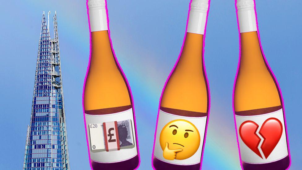 The Shard and three wine bottles