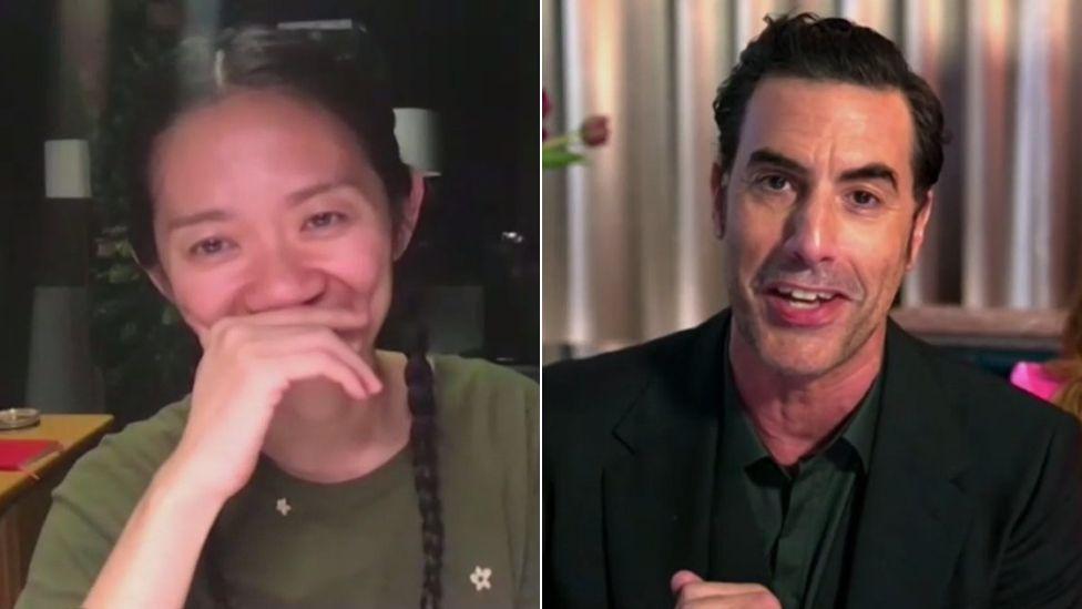 Chloé Zhao and Sacha Baron Cohen