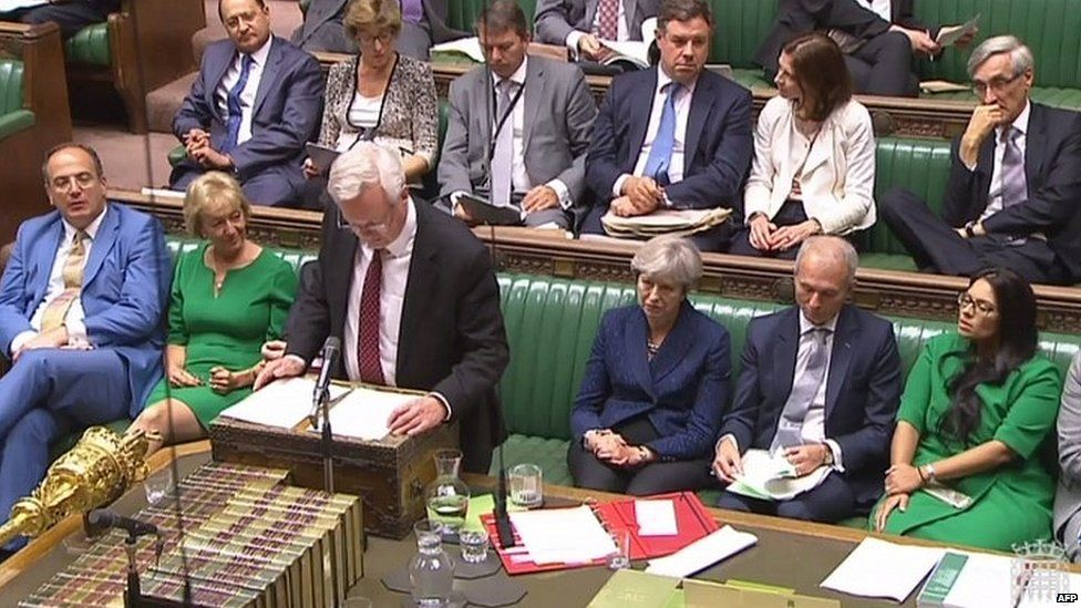 Brexit Secretary David Davis addressing MPs, flanked by Theresa May and Andrea Leadsom