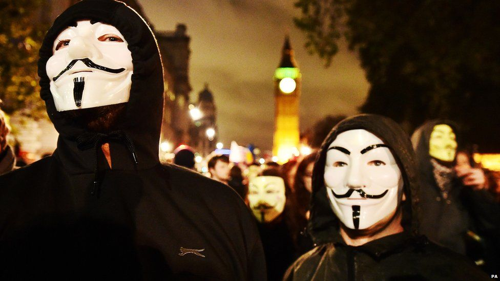 Fifty people were arrested as Anonymous members protested against inequality in London this month.