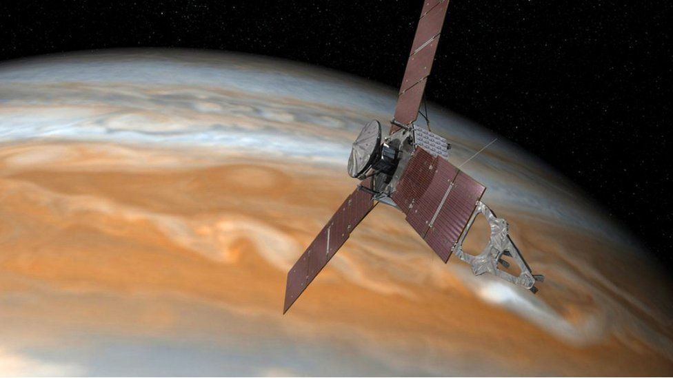 Artist's impression of Juno at Jupiter