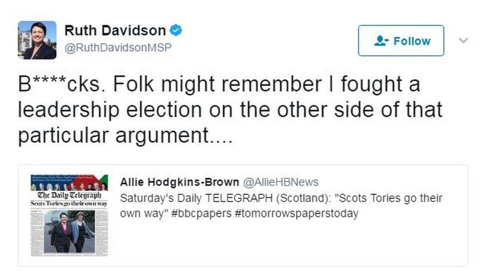Ruth Davidson tweet