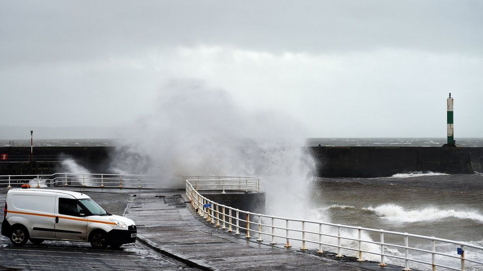Spray coming over the sea wall in Aberystwyth